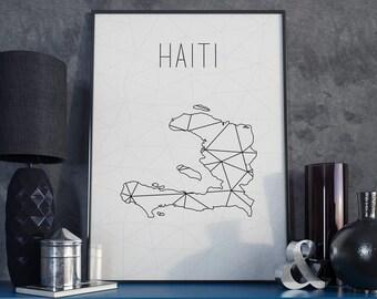 Haiti map Haiti print Haiti art Geometric print Art Black and White Minimalist Art Modern Wall Art Scandinavian Print Custom gift