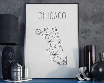Chicago art, Chicago print, Chicago map, illinois map, Geometric art, Scandinavian style, modern minimalist, minimalist art, office decor