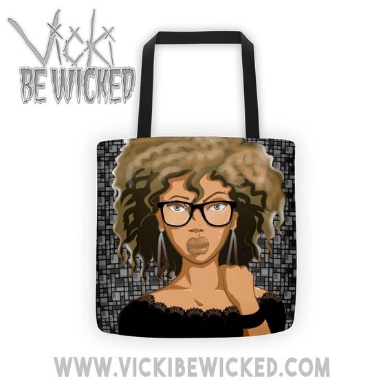 Curly Hair Afro Girl Tote Bag