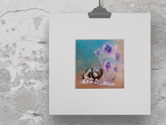 art print violets, print children's room, flower print, girls bedroom décor, gift for girls, acrylic painting,  print violet, gift gardeners