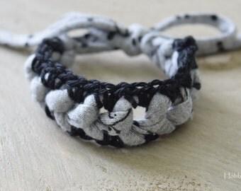 Crochet Bracelet Armcandy Cotton Black and Grey