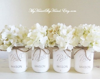 White Painted and Distressed Pint Size Mason Jars for Rustic Home Decor and Events - Includes 4 Ball Mason Jars