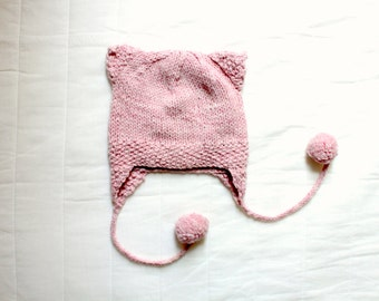 Handmade Pink Earflap Beanie with cat ears and bobbles