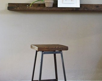 Reclaimed Urban Wood Seating Industrial Bar Stool Chair -Industrial Modern-From Salvaged Barn Wood - FAST SHIPPING