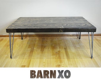 "2.5"" Thick wood coffee table - made from reclaimed wood w/industrial hairpin legs"
