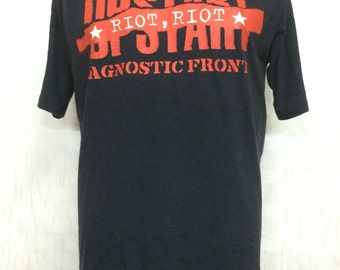 Vintage 90s AGNOSTIC FRONT Band Upstart Riot Riot Tshirt Gothic Punk