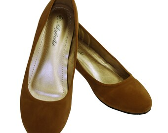 Narrow Fit Caramel Velvet Hidden Wedge Ballerina Ballet Flat Shoes Secret Heel Lift UK Size 3 4 5 6 7