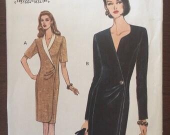 Vogue 8876 '90s Vintage Sewing Pattern - Faux Wrap Dress - Sizes 14, 16, 18