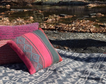 Camu Camu and Andean Diamonds Pillow Cover - One of a Kind, Hand Woven, Hand Dyed