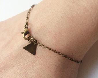 Filigree Cute Small Triangle Bracelet Geometric Basic Bronze