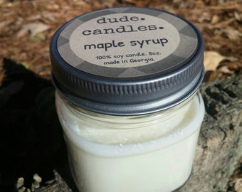 maple syrup candle. 8oz soy candle. dude candle. man candle. mason jar candle. gifts for him.