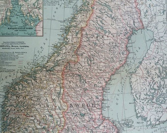 1903 Norway and Sweden Original Large Antique Map with inset maps of Stockholm and Kristiania Fjord - Scandinavia - Wall Map
