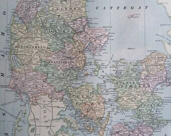 1901 DENMARK Original Antique Map, 11 x 14.5 inches, Home Decor, Cartography, Geography, Vintage Decor