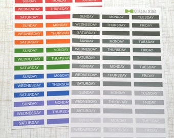Monthly Color Coding Strips // Days of the Week (Set of 45) Item #311