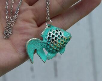 Turquoise Fish Necklace / Destination Wedding Accessories /