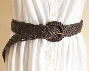Vintage  brown leather braided belt  Wide macrame belt boho, hippie, Bohemian style  80's belt Eco leather belt oversize