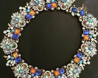 SALE Vintage inspired orange & blue jewelry necklace