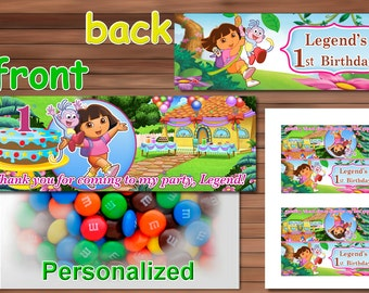 Dora the Explorer Favor Bag Toppers, Personalized Printable PDF