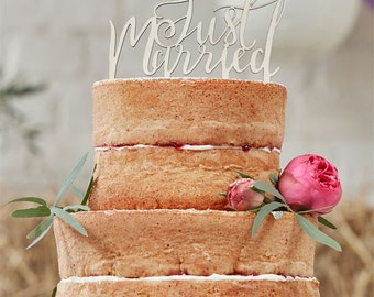 Boho 'Just Married' Wedding Cake Topper Wedding Cake Decorations Supplies