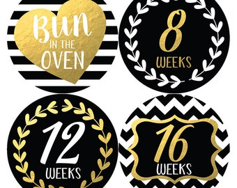 Belly Stickers, Pregnancy Stickers, Maternity Stickers, Weekly Pregnancy Stickers, Gold and Black, Gold Belly Bump Stickers, Petite Folio
