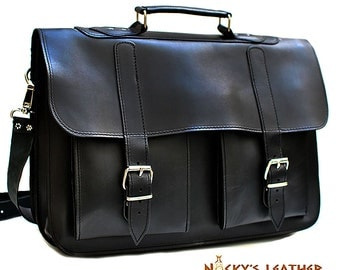 LEATHER MESSENGER BAG - Leather Briefcase  100% Full Grain Leather in Black Color