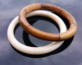 Buffalo Horn and Bone Bangle Set Two Pieces Chunky Bangles