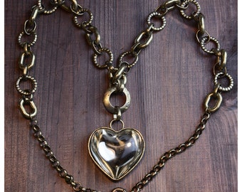 Vintage Huge Glass Heart Chain Necklace