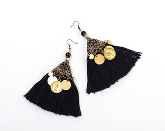 Tassel Earrings, Black Hippie Earrings, Boho-chic Style