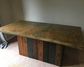 Acid Stained, Concrete Dining Room Table