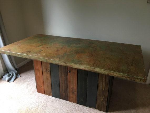 acid stained concrete dining room table. Black Bedroom Furniture Sets. Home Design Ideas