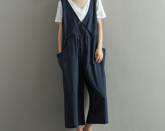 Womens Summer Retro Linen Jumpsuits Overalls Pants With Pockets, Womans Elegance Jumpsuits Pants, Loose Pants, Casual Pants For Lady