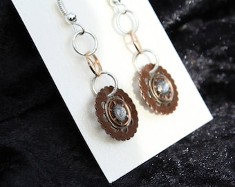 Copper and silver steampunk gear earrings