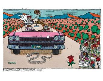 Art Print Day of the Dead The Journey–El Viaje 12 x 16 Overall Sugar Skull