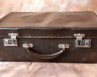Vintage  Suitcase, Brown/ Black , lovely to use for storage. Retro, shabby chic, vintage luggage