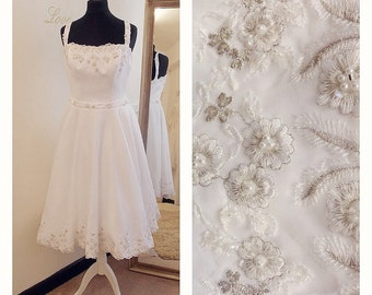 ROXY White heavy quality vintage tea length wedding dress with silver embroidery And pearls approx size 10 UK