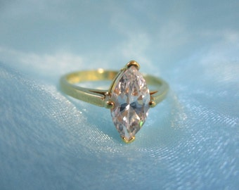 CZ Solitaire Gold Tone Ring