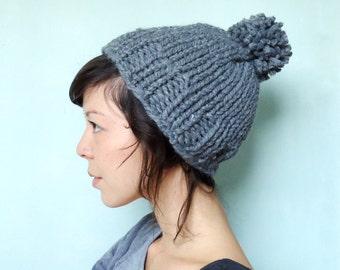 Chunky Knit Pom Pom Beanie Mütze grau