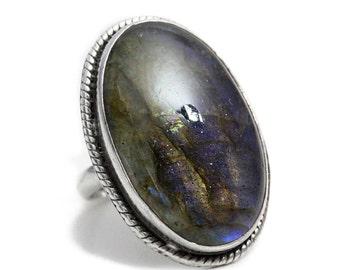 Labradorit Ring aus Silber Edelstein Silberring Schmuck poliert