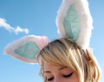 White Rabbit - Long and bendable luxury rabbit ears headband - Peppermint