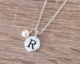 Initial Necklace, Personalised Gift, Mother's Day Jewelry, White Swarovski Pearl, Engraved Letter Pendant, Disc Charm, Antique Silver
