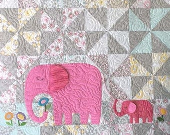 E is for Elephant Quilt Pattern in a Digital PDF
