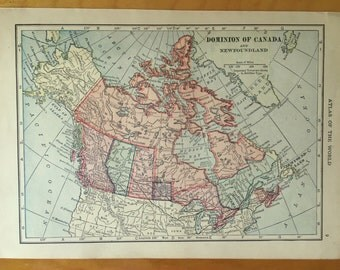 Canada Antique map - vintage map - 1911 Dominion of Canada and Newfoundland map  - frameable map - world map wall decor