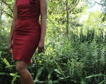 Burgandy fit dress with a crotchet detail