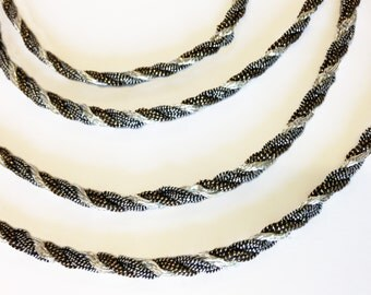 Glittering, Festive, Twisted Lurex Cord, Bright Silver, Antique Silver, Antique Gold, Vintage, 2 lots of 20 yds. each.