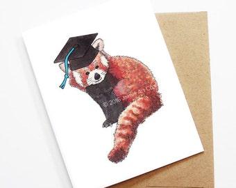 Graduation Card - Red Panda, Grad Card, College Graduation, High School Grad, Congrats Grad, Congrats Card, Cute Animal Card, Red Panda Card