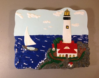 Lighthouse Stepping Stone, Garden Decoration, Lawn Decoration, Patio Decoration, Painted Stepping Stone