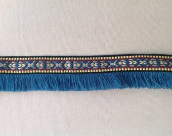 2 Yards Bohemian Fringe Trim, Fringe Ribbon, Fringe Tape,  Aztec Trim in Teal Color