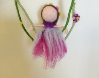 Needle Felted fairy,Cute Felted little girl on the swing,Felted mobile