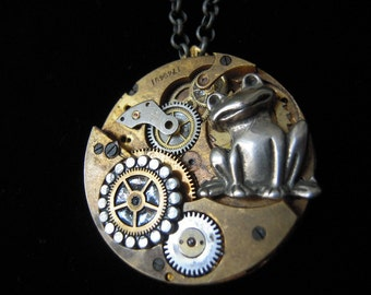 """""""Steampunk necklace"""" the frog """"Vintage watch mechanism, Steampunk necklace""""The FROG""""vintage mechanism watch (A433)"""