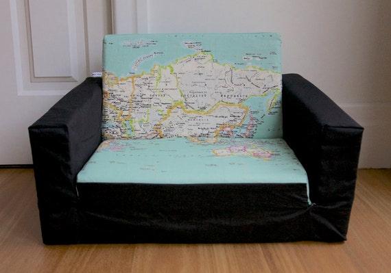 kids flip out sofa cover world map black note cover only. Black Bedroom Furniture Sets. Home Design Ideas